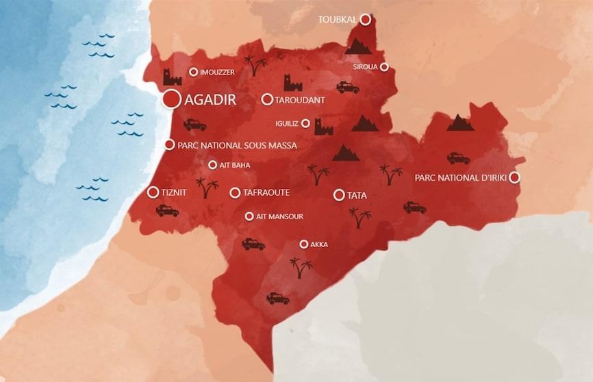 Carte Agadir Souss Massa